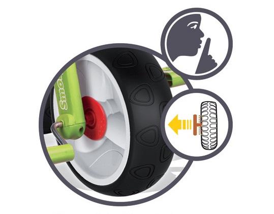 Tříkolka s rodičovskou tyčí a gumová kola