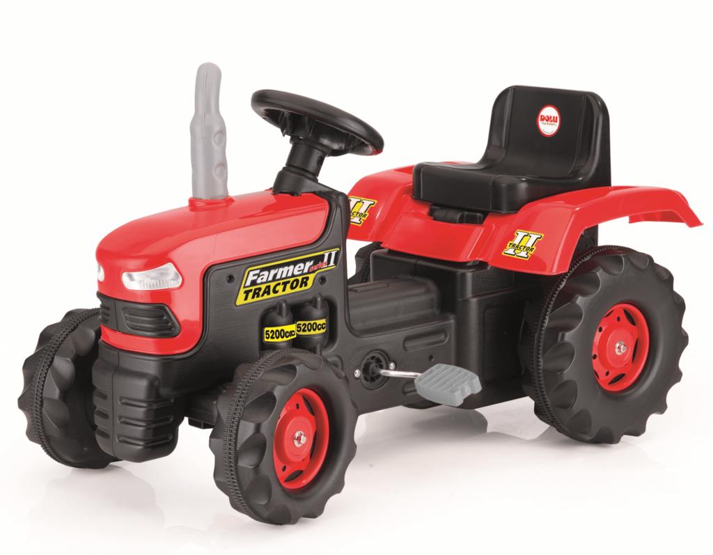 Dolu traktor pro děti červený