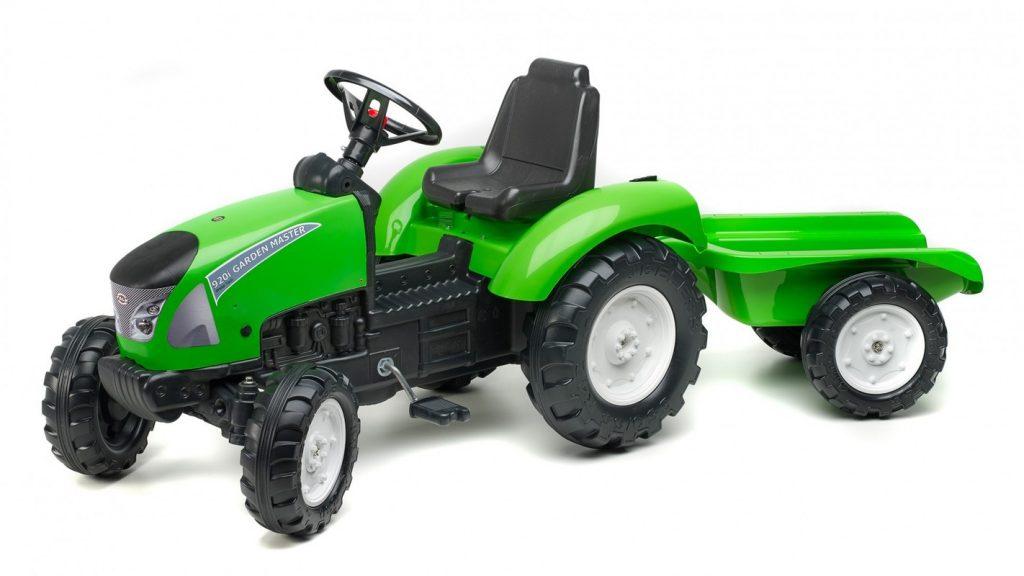 Zelený traktor pro děti s vlečkou Falk Garden