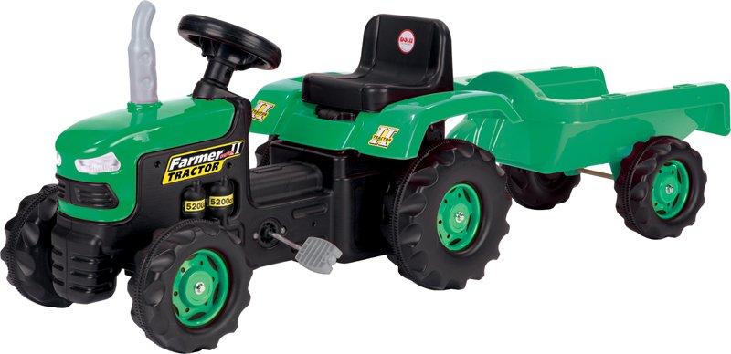 Dolu šlapací traktor pro děti s vlečkou